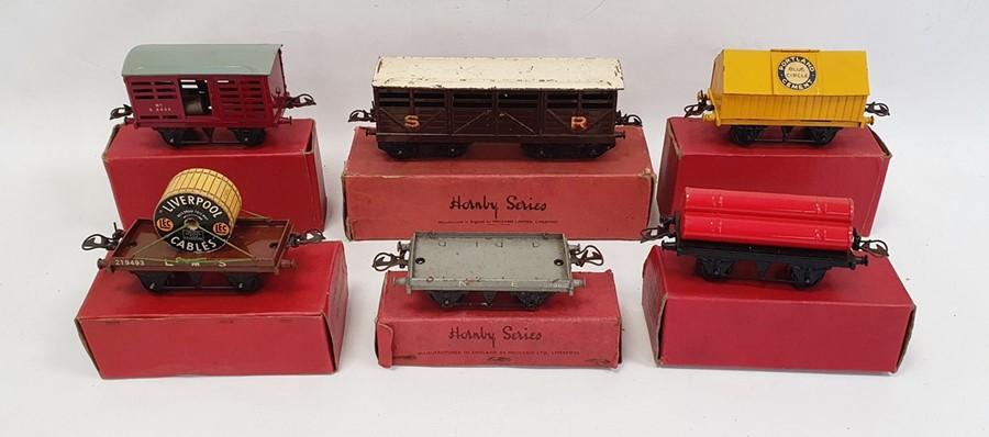 Six Hornby '0' gauge goods wagons including gas cylinder wagon (42155), No.1 Milk Traffic van (