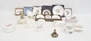 Large collection of trinket pots, dishes, scent bottles, etc, some boxed, including Wedgwood,