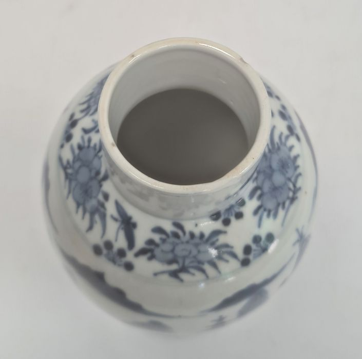 Chinese blue and white vaseof baluster form decorated with pagodas and lake scene, within a - Image 5 of 22