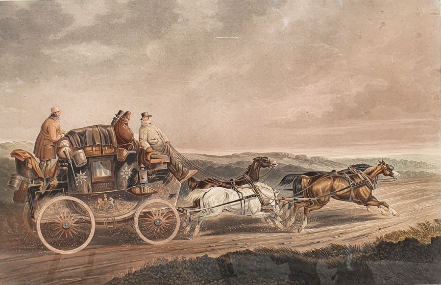 """After C C Henderson 19th century coloured print from Fores's Coaching Recollections """"Waking up"""","""