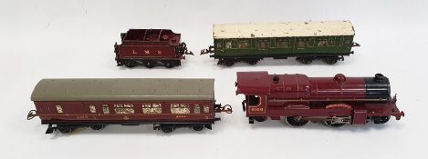Hornby clockwork Royal Scot locomotive (no.6100) and tender in LMS maroon livery, a Hornby series