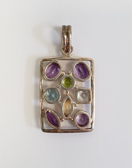 TGGC silver and semi-precious stone pendantof oblong openwork form and set eight variously cut - Image 2 of 2