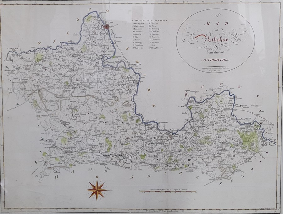 Hand-coloured map of Berkshire published by John Stockdale and engraved by J. Cary, 40 x 53cm