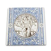 Set of seven Mintons' tiles each with a central roundel depicting a seasonal task within a