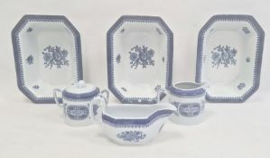 Three Wedgwood Springfield pattern bowls of rectangular form and a Spode milk jug, sauceboat and