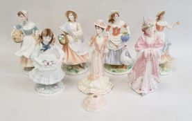 Collection of Royal Worcester Pastoral figurines to include 'Market Day', 'Goose Girl', 'Baker's