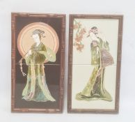 Pair of modern tile plaques, one depicting a lady with elaborate hair ornaments the other a musician
