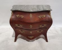 20th century Dutch-style bombe-fronted commode, the serpentine grey marble top above three
