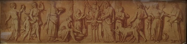 """After Bartolozzi Set of four 18th century classical coloured engravings, """"A Sacrifice to"""