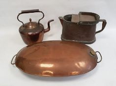 Large two-handled copper warmerof oval design, possibly a coaching foot warmer, 69cm long, a copper