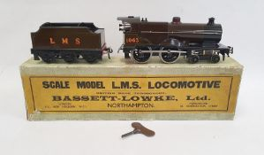 Bassett-Lowke LMS clockwork compound loco (3302/0) no.1063, with tender in brown LMS Livery, with