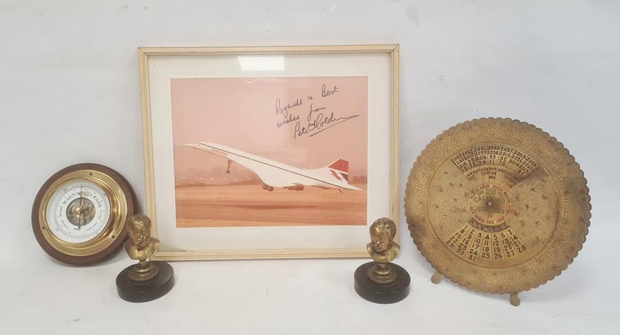 Framed photograph of Concorde with signed dedication from Peter Holden, flight engineer, a pair of