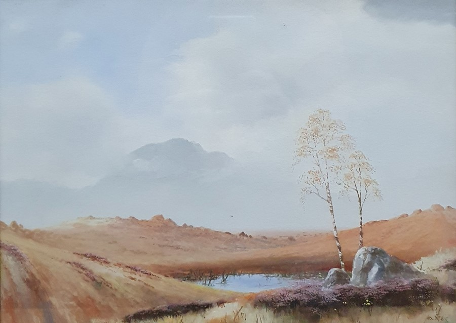 James Greig - late 19th, early 20th century Watercolour and gouache Moorland scene, signed lower