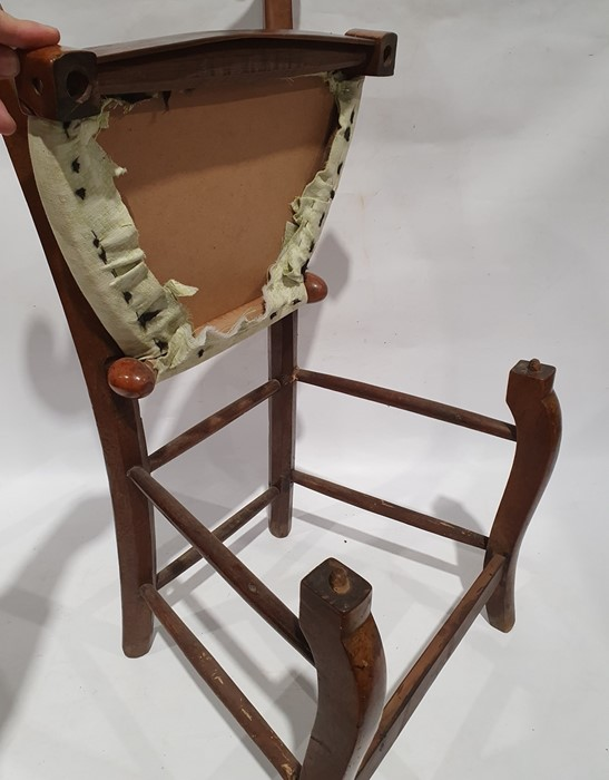Unusual vintage chair, the shaped top rail over folding seat, cabriole legs - Image 3 of 3