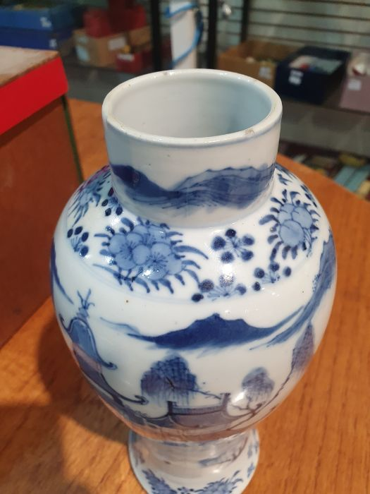 Chinese blue and white vaseof baluster form decorated with pagodas and lake scene, within a - Image 13 of 22