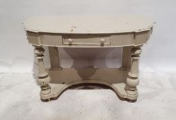 Painted and shabby chic style hall table, the shaped bow front with single drawer, on turned and