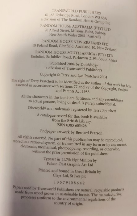 "Pratchett, Terry ""Nation"" (2 copies), ""Wintersmith"", ""I Shall Wear Midnight"", ""A Hatful of Sky"", "" - Image 18 of 21"