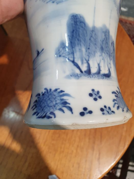 Chinese blue and white vaseof baluster form decorated with pagodas and lake scene, within a - Image 21 of 22