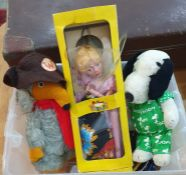 Pelham puppetof Cinderella, in box, a Pedigree Womble soft toy, a Snoopy soft toyand accessories