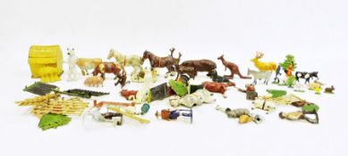 Quantity of Britains farmyard animalsand various other painted model animal ornaments, etc
