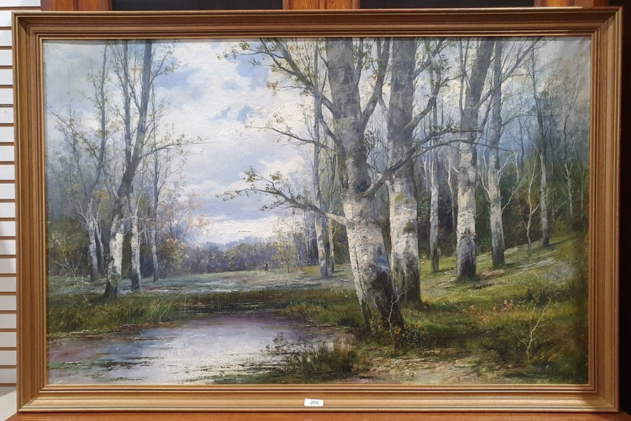 L. Bader - 20th century Oil on canvas Woodland view with lake in the foreground, signed lower right, - Image 2 of 3