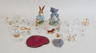 Quantity of assorted crystal glass models including a crocodile, a rhino, a windmill, etc, a Beswick