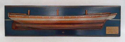 Modern wooden wall-mounted half-block model of the 1876 Argonaut ship, 94cm long
