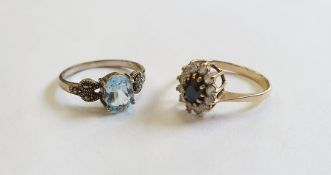 9ct gold, sapphire and white stone cluster ring and a silver, marcasite and blue stone ring(2)