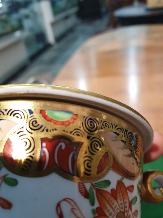 Spode two handled cup and cover, circa. 1820 of tapering form with scroll handles decorated in the - Image 7 of 8