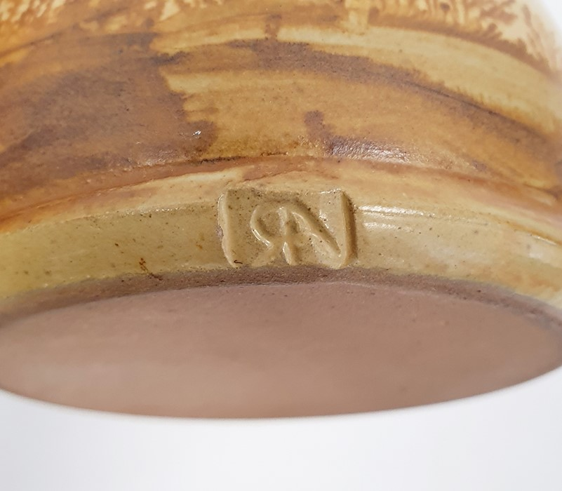 """Pair of Rupert Andrews """"Mocha"""" ware lidded preserve jars decorated with country landscapes, - Image 6 of 7"""
