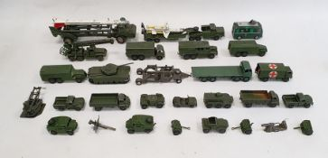 Box of assorted playworn military vehiclesto include Dinky Supertoys, Medium Artillery tractor 689,