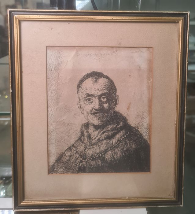After Rembrandt van Rijn (Dutch - 1606-1669) Etching The First Oriental Head, signed and dated - Image 2 of 16