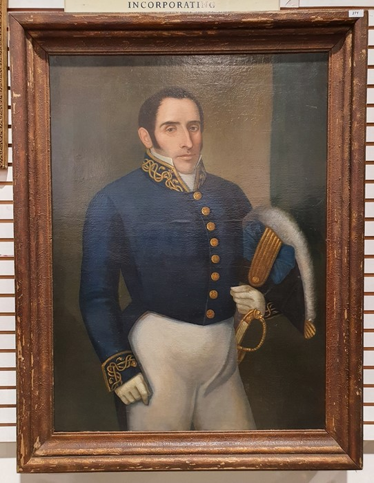 British School - 19th century Oil on canvas Three-quarter length portrait of a gentleman in naval - Image 2 of 2