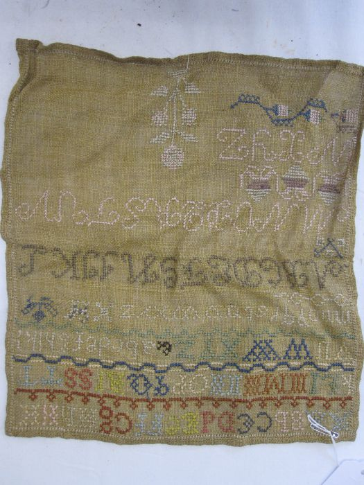 Sampler with alphabet, numbers and prayer by Heather Walsh dated 1839, stitched onto board, 30cm x - Image 2 of 2