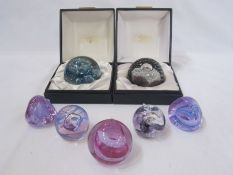 Two Caithness paperweights 'Spindrift' and 'Night Venture', boxed and five other Caithness