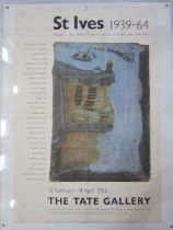 """St Ives poster """"St Ives 1939-64 25 Years of Painted Sculpture and Pottery"""", """"13th February to 14th"""