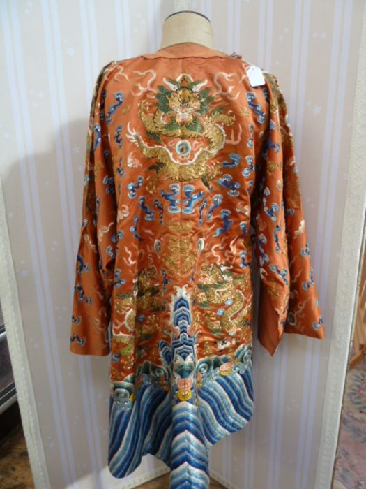 Chinese embroidered silk Dragonrobe, apricot ground, gold thread embroidered with five-clawed - Image 2 of 10