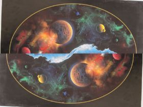 David Miller (20th century school) Limited edition print Dolphins with planets, no.274/450, signed