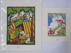 "Pat Harrison Colour print ""Rabbits and Toadstools"", 22cm x 18cm Lydia Hine Colour print ""Dancing"