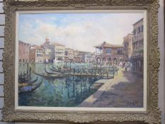John Ambrose (1931-2010) Oil on canvas Venetian scene, view across canal with figures on pavement,