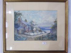 Joseph Hughes Clayton (1870-1930) Watercolour Seaside cottage scene, signed lower right, 25cm x