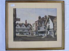 E W Moy (20th century school) Topsham, Devon and Tewkesbury - three village street scenes,