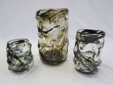 Large Whitefriars knobbly clear glass vasewith brown swirls, 24cm high and two smaller knobbly