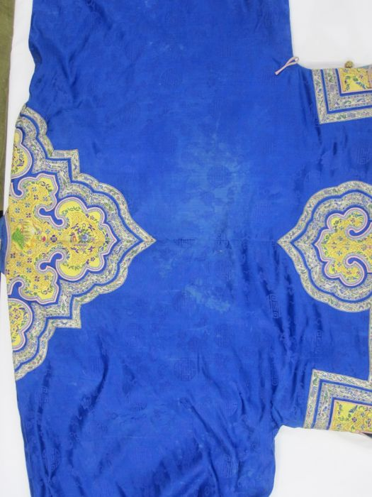 Chinese embroidered silk robe, brass button with relief pattern and silk loop fastenings, borders - Image 14 of 18