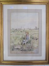 William Alexander Cuthbertson (1882-1966) Watercolour Girl reading by waterside, signed in