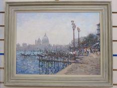 John Ambrose (1931-2010) Oil on board Venetian scene with figures on pavement and Santa Maria de la