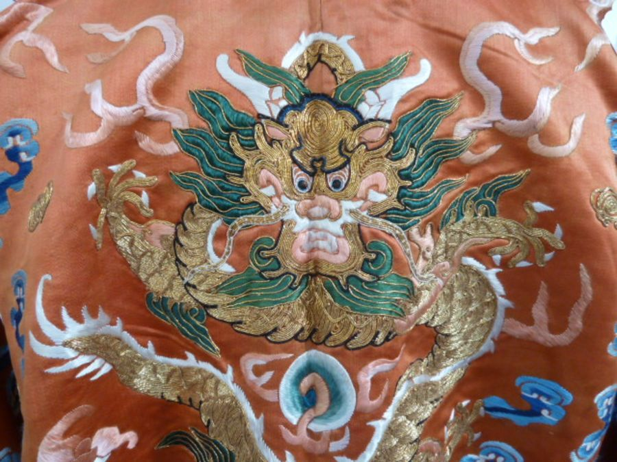 Chinese embroidered silk Dragonrobe, apricot ground, gold thread embroidered with five-clawed - Image 4 of 10