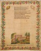 Unfinished sampler - Harriet Elizabeth Holden 's Work aged 11 1838, flowered border in pinks, green