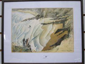 "Chris Hoggett Watercolour ""Surfers, Gower"", signed lower right, 24cm x 34.5cm"