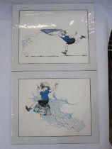 """Felicity Ashby Colour print """"Orange Circus Horse"""", 31cm x 38cm """"Piebald Circus Horse"""", 30cm x 38cm"""
